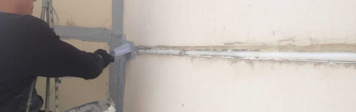 Герметизация стыка ливневой канализации
